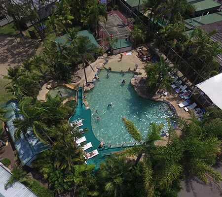 Aerial view of BIG4 Koala Shores Holiday Park