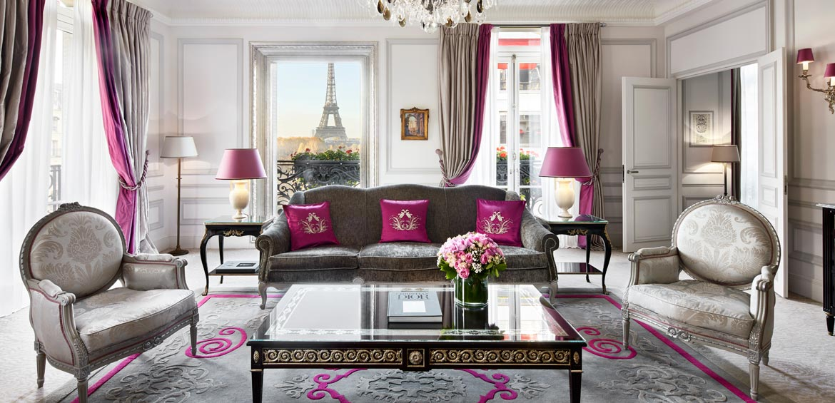 The Eiffel Tower 'framed' by the Haute Couture Suite at Hôtel Plaza Athénée