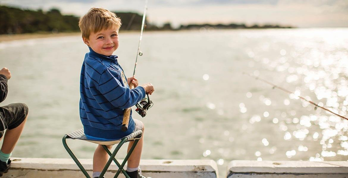 Kid fishing at Portarlington