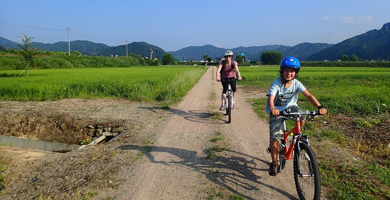 Kids bike riding