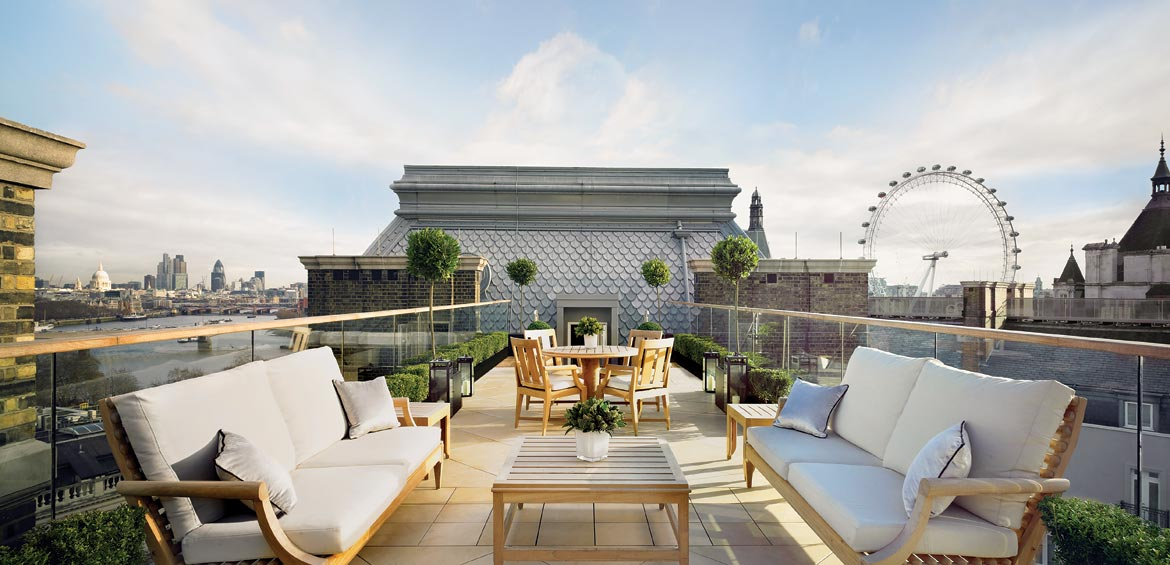 Terrace of the Musician's Penthouse at Corinthia Hotel London