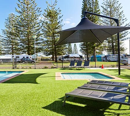 Pool and spa area at NRMA Port Macquarie Breakwall Holiday Park