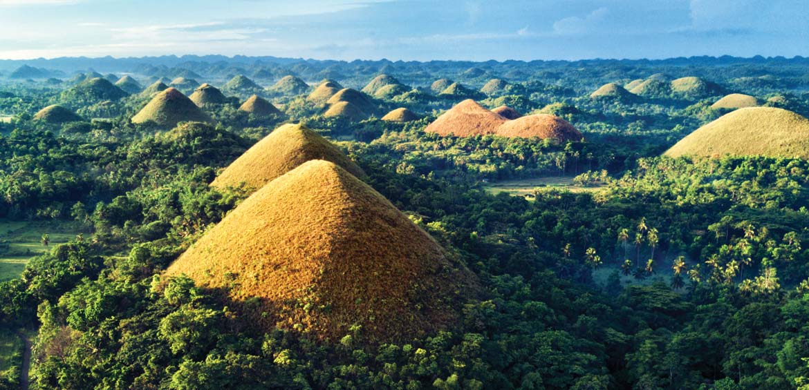 Aerial view of Chocolate Hills. Bohol, Philippines
