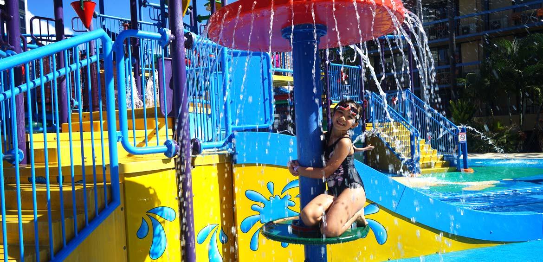 Enjoying the water park