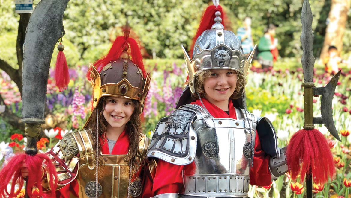 Rafferty and his sister dressed up at Yuntai Garden