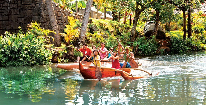 Hawaii canoe paddling at Polynesian Cultural Center