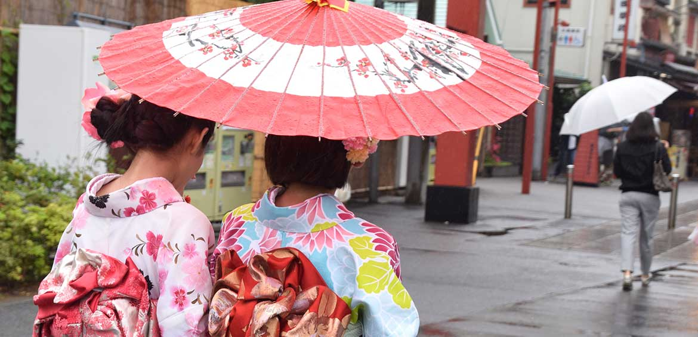 Ladies dressed in Kimono, Tokyo