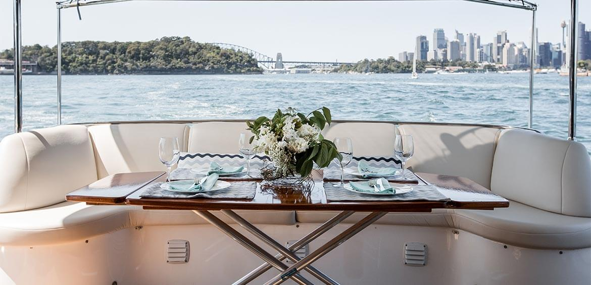 Lunch set up on board Enigma Charters