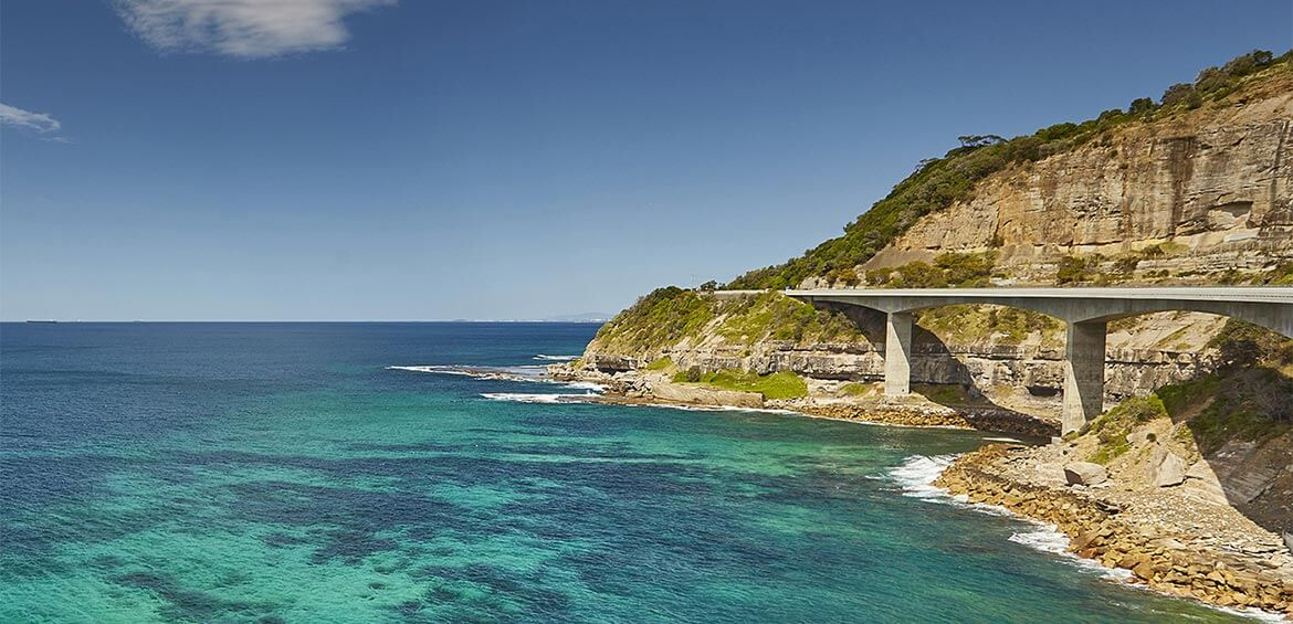Scenic views of the Sea Cliff Bridge from the Royal National Park