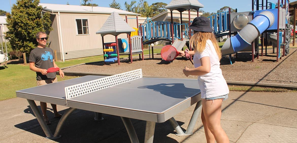 A table tennis match at Holiday Haven Huskisson Beach