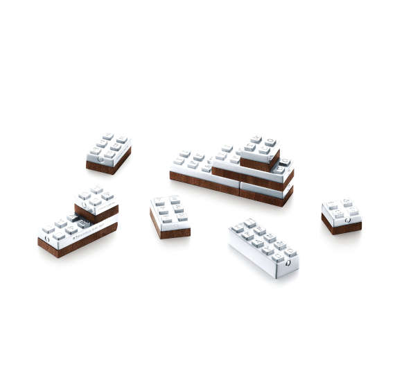 Hand-crafted sterling silver and American walnut building blocks by Tiffany