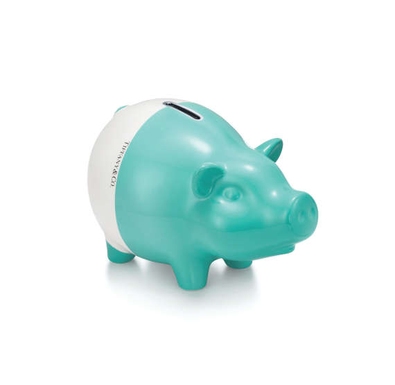 Piggy bank in the signature robin's-egg blue by Tiffany