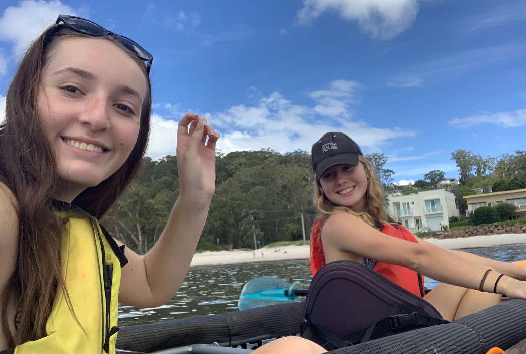 Sarah White and Catherine Baker kayak