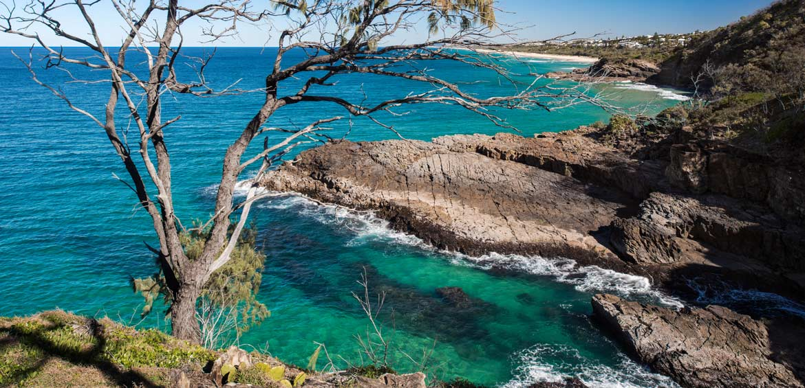 Top Cliff View of a Beautiful Ocean Coastline Overlooking the Sunshine Beach, Noosa National Park, Noosa Heads, Australia