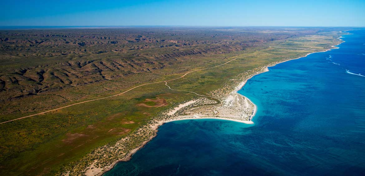 Aerial view of Ningaloo Reef and Cape Range National Park