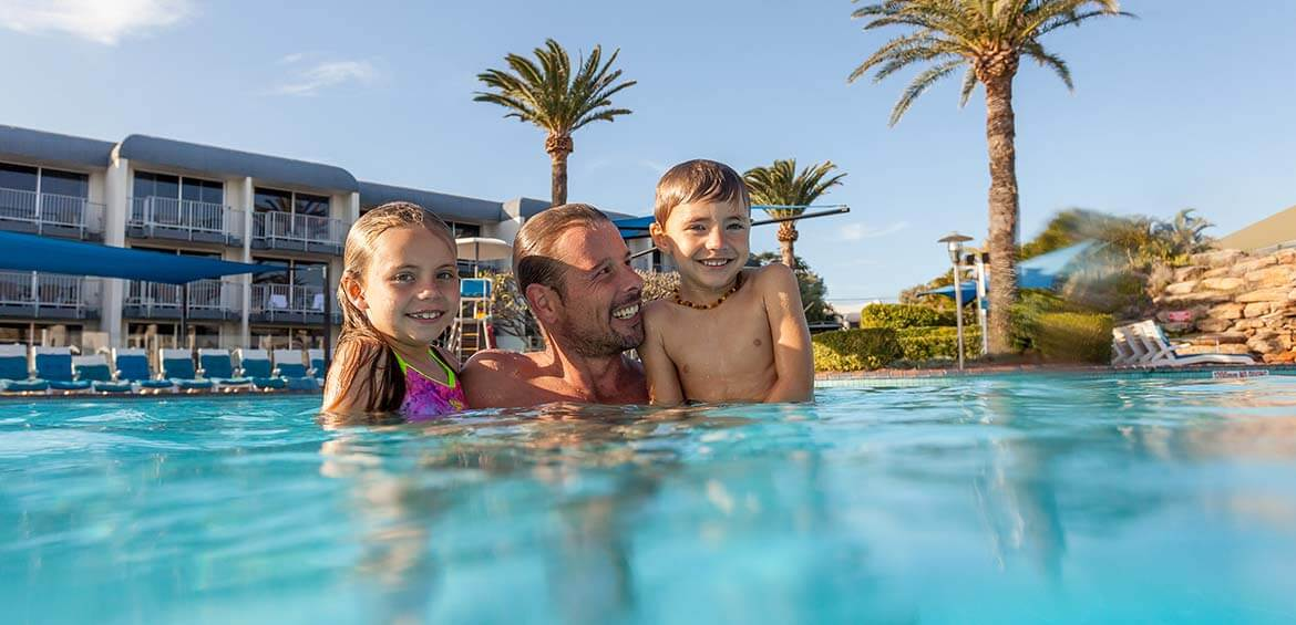 Family fun in the pool at Sea World Resort