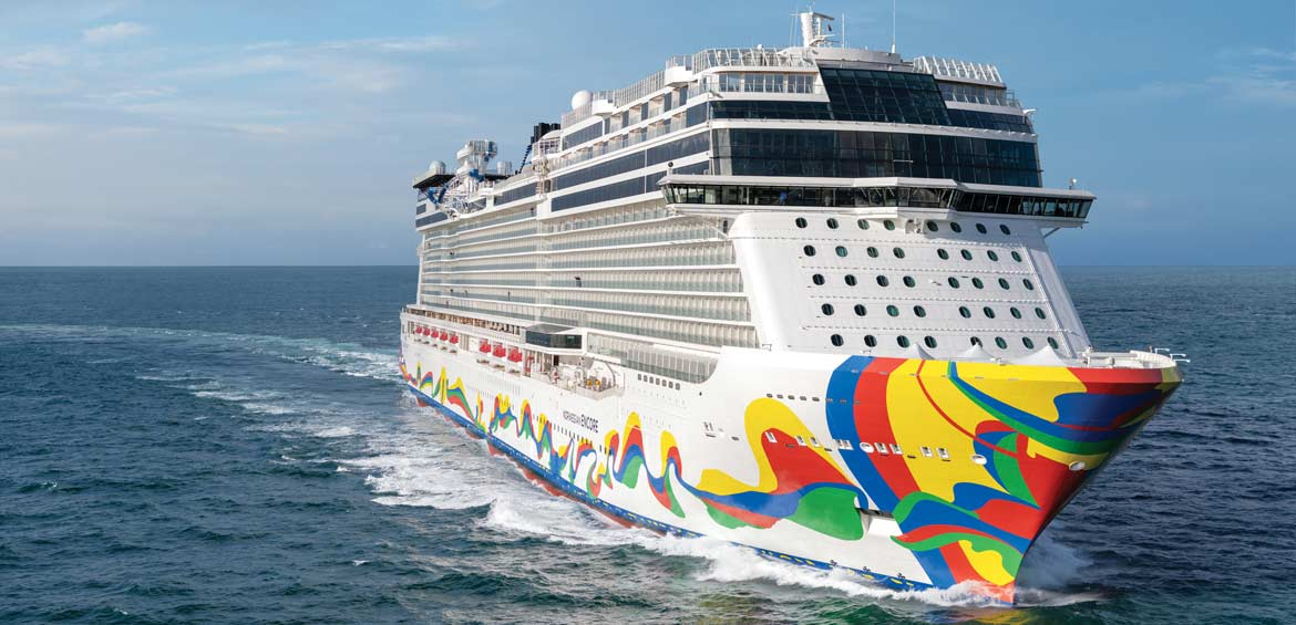 The brightly painted Norwegian Encore