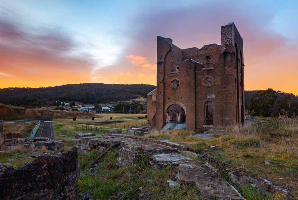 A sunrise over the iconic Lithgow Ironworks blast furnace
