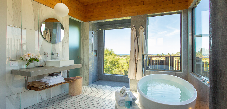 Bathroom at Hapuku Lodge + Tree Houses