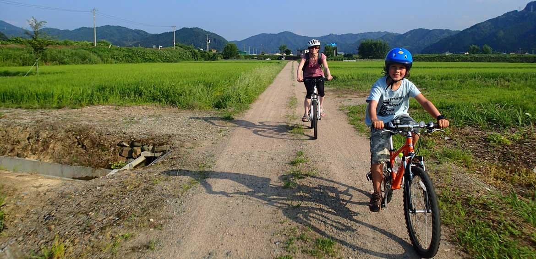 cycling through the Hida countryside past lush farmland