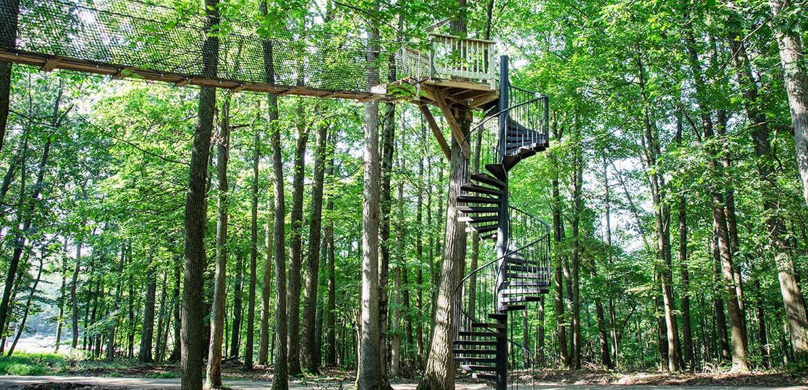 Spiral staircases at The Mohicans Treehouses