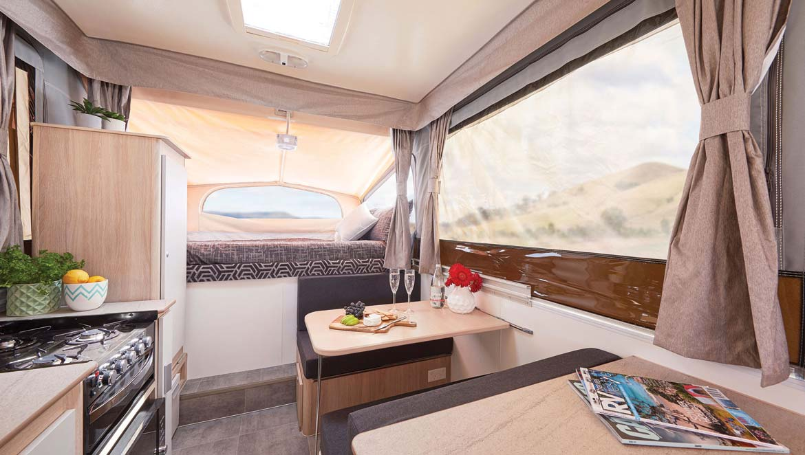 A fridge and kitchen are among the Jayco Swan's great features