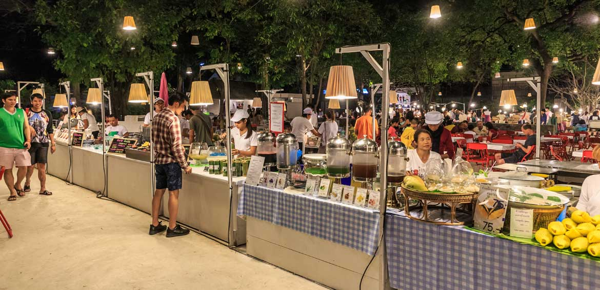 Food zone at Cicada Market in Hua Hin. It is a famous night market, consist of handmade items, fashion, secondhand items and SME products.