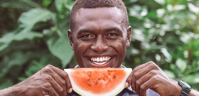 Pax eating watermelon on Vomo Island Fiji