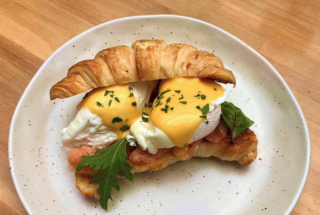 Eggs Benedict with Smoked Salmon on a Toasted Croissant