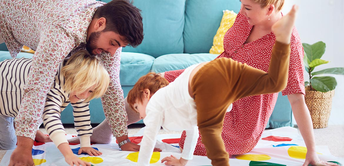 Family playing Twister