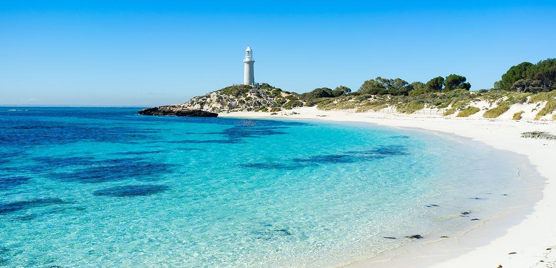 Pinky Beach and the Bathurst Lighthouse on Rottnest Island