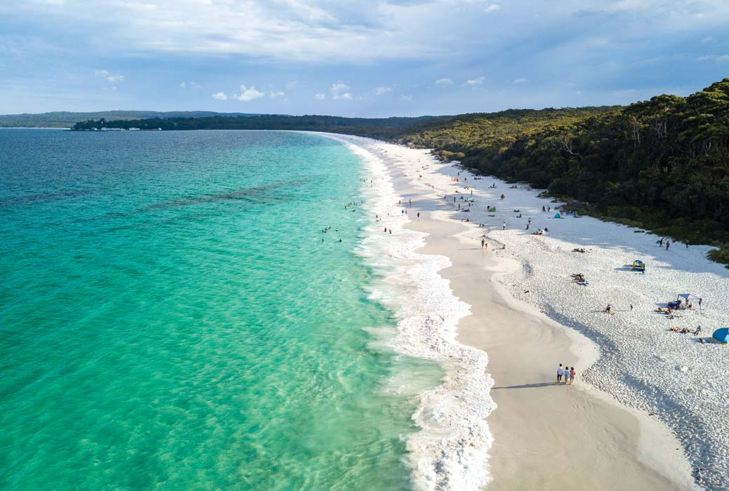 Shoalhaven Coast Panorama Aerial Drone Picture of the white sand Hyams beach in New South Wales, Australia