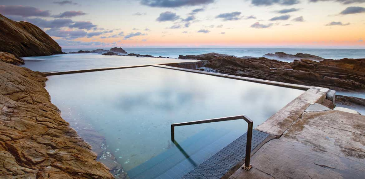 The iconic and famous Blue Pool on a cool autumn evening in Bermagui, New South Wales, Australia