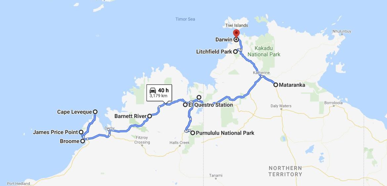 Broome to Darwin road trip map