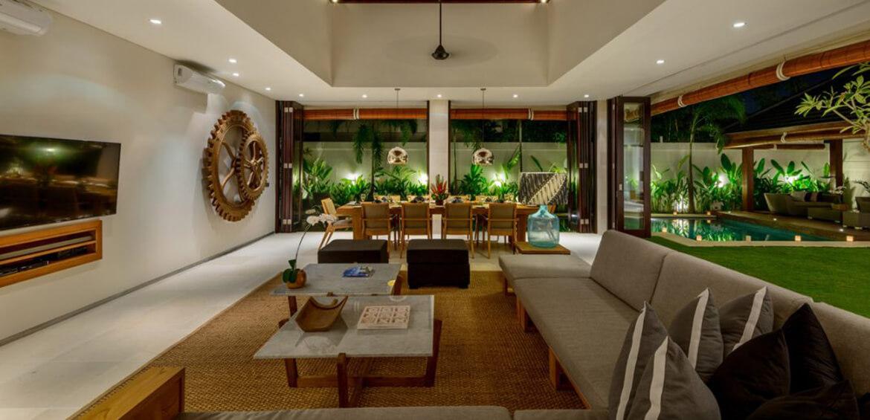 Open lounge room at Villa Maya, Canggu