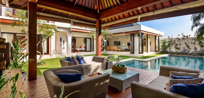 Outdoor seating area at Villa Maya, Canggu