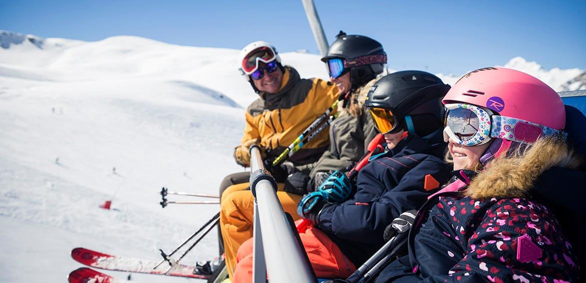 Family on the chairlift at Val d'Isère