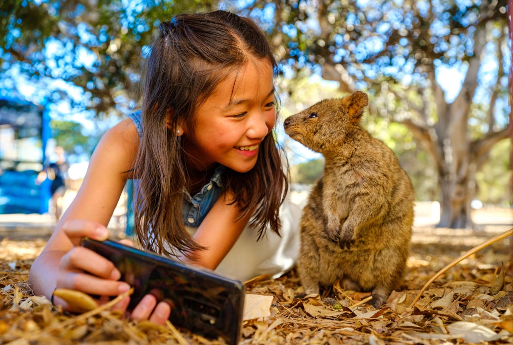 Selfie with a quokka on Rottnest Island holiday in Western Australia