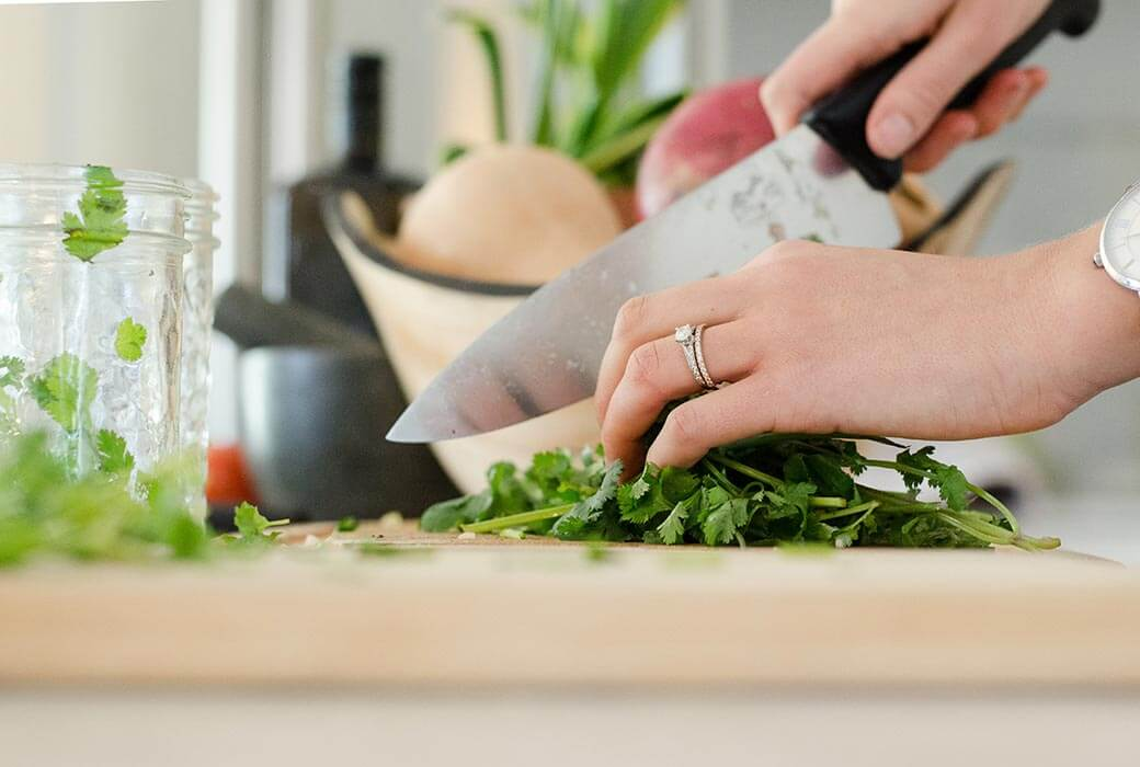 Chopping food, meal prep