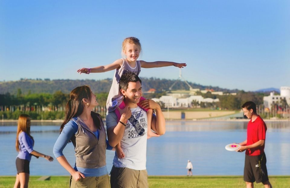 Family by the lake in Canberra © VisitCanberra