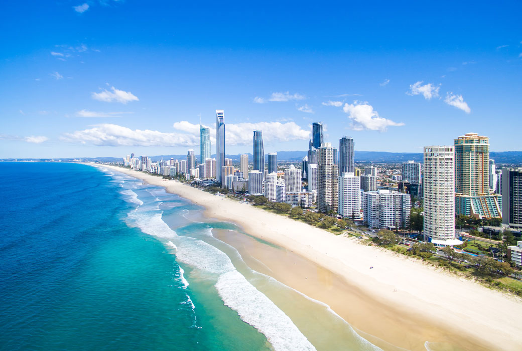 An aerial view of Surfers Paradise on the Gold Coast, Australia Queensland border restrictions