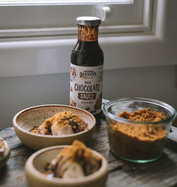 Chocolate sauce and malt crumbs ice cream