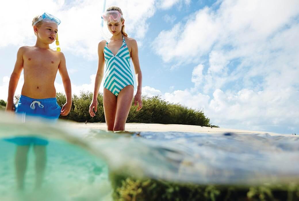 Kids having fun in the Great Barrier Reef