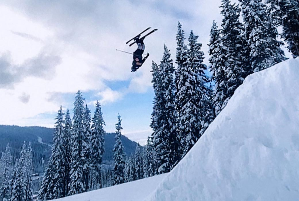 Alex Hayes tackling a double back flip at Sun Peaks