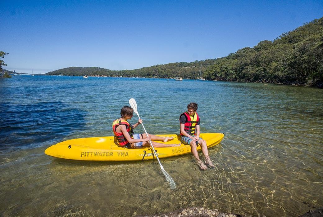 Family kayaking at Pittwater YHA