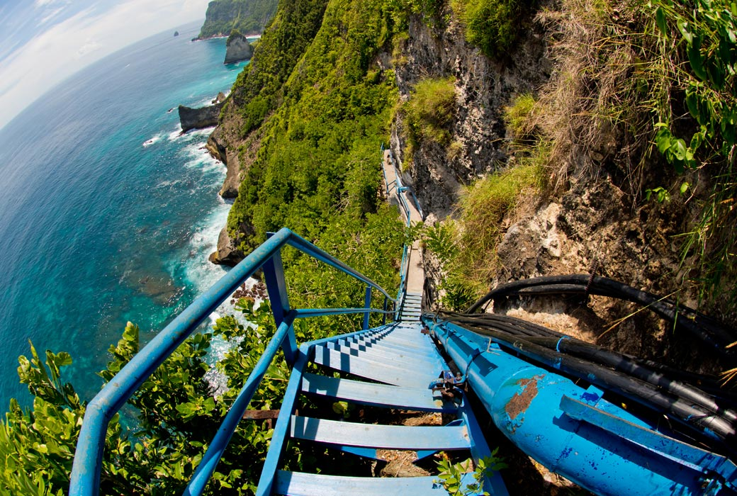 The staircase leading to Peguyangan waterfall. Nusa Penida island, Indonesia.