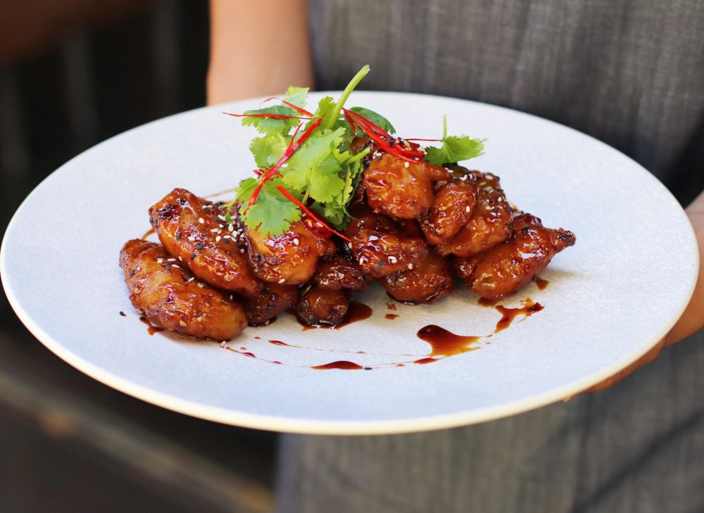 Finger eggplant with caramel sauce. Drool!