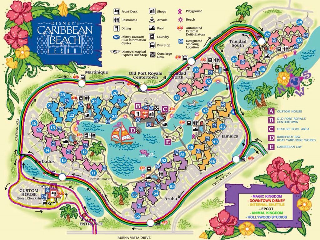 Map Caribbean Beach Resort Disney World