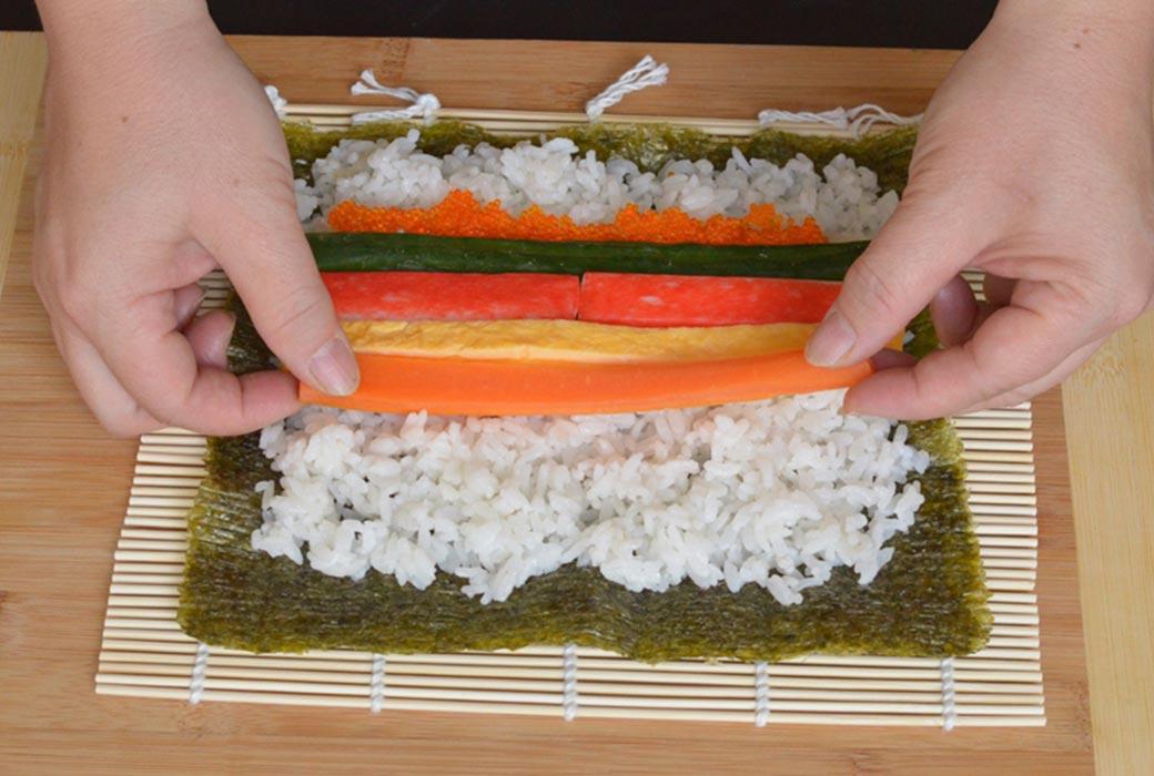 Making a California sushi roll