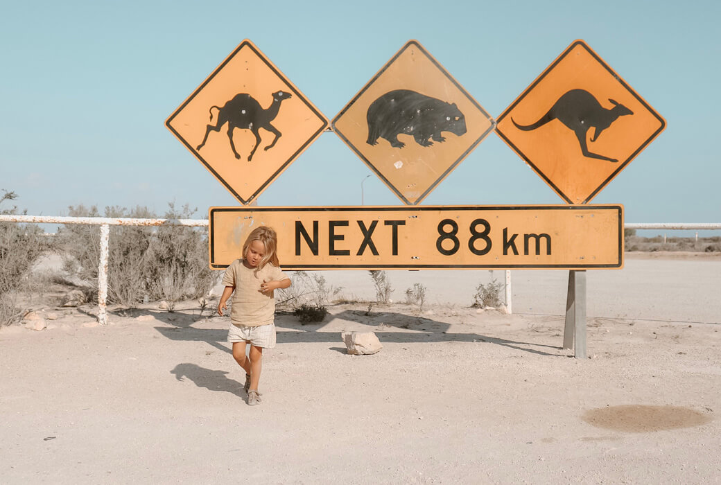 family road trip australia Wildlife sign by the Nullarbor Roadhouse on a South Australia road trip